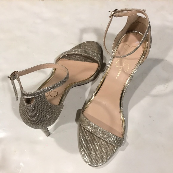 b5db814bd39 Jessica Simpson Shoes - Jessica Simpson Silver Endeena Ankle Strap Shoes